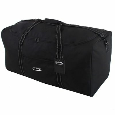 Large Sports Travel Holdall Luggage Duffle Cargo Weekend Holiday Bag Black