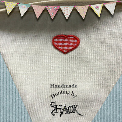 Handmade Bunting - Heart design - Double sided - shabby Chic - Glamping