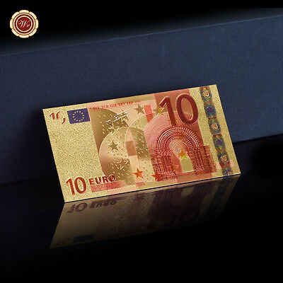 WR 24K Gold Europe 10 Euro Polymer Banknote Bill World Paper Money Collect Gifts