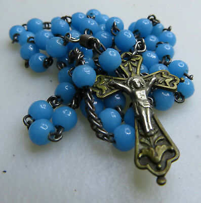 Vintage Antique Blue Glass Beads Rosary Chapelet Cross 14""