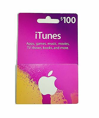 $100 iTunes Gift Card for Apps, Games, Music, Movies, TV shows, Books and More.