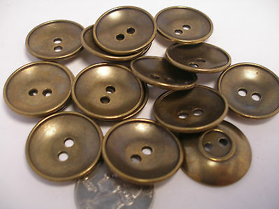 8 antique Brass Finish Concave Metal Buttons 5/8 11/16 7/8 1 inch & Blazer #ABN