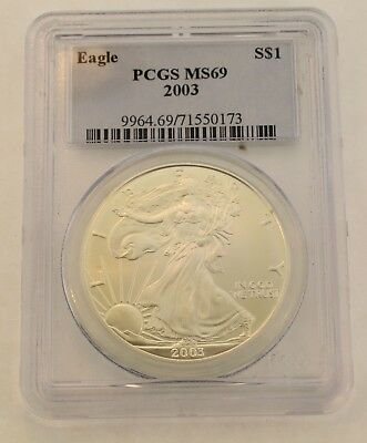 United States 2003 Silver Eagle $1 Dollar Coin Pcgs- Ms69