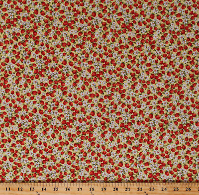 Strawberries Strawberry Flowers Floral Garden Cotton Fabric Print BTY D372.10
