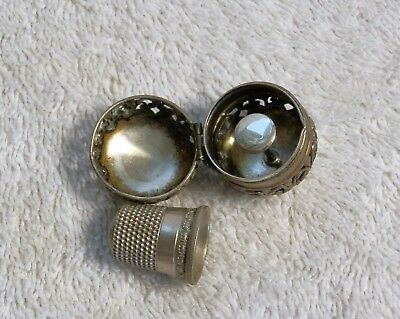F & B  Foster and Bailey Sterling Silver Thimble Holder with thimble