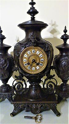 19th Century FRENCH BRONZE MANTEL CLOCK GARNITURE WITH CHINESE MOTIFS