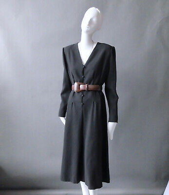 Vintage Hanae Mori Black Wool Crepe Caftan Dress sz 10 12 Large Japan 1980s