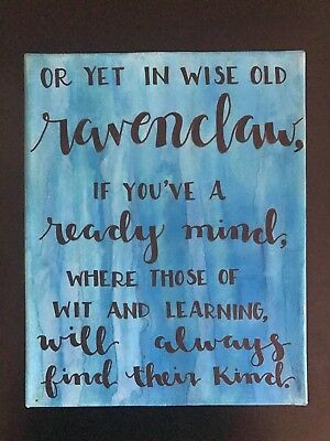 Harry Potter Houses Watercolor Calligraphy Canvas - Ravenclaw