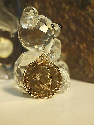 1875 Netherlands 10G Gulden Gold Coin / Set In Pendant !