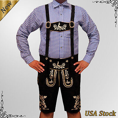 Men's Authentic Lederhosen German Bavarian Oktoberfest Trachten Short Outfit TF7