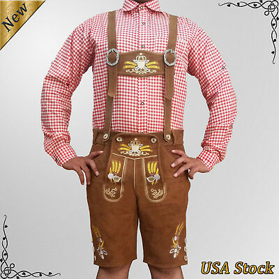 Men's Authentic Lederhosen German Bavarian Oktoberfest Trachten Short Outfit TF8
