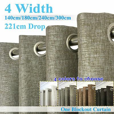 Single Panel Eyelet BLOCKOUT Curtain LINEN TEXTURE 140-300cm (W)/221cm (D)