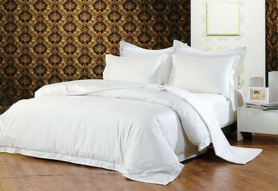 Hotel Quality Pure Cotton 1000TC Queen Size Quilt Cover Set -WHITE NEW
