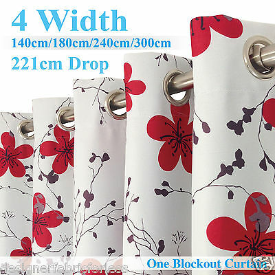 Single Panel Eyelet BLOCKOUT Curtain Floral Pattern 140-300cm (W)/ 220cm (D)