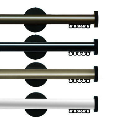 Modern Pleat Curtain Track Rod  W/GLIDERS - Large Range, 4 Colours to Choose