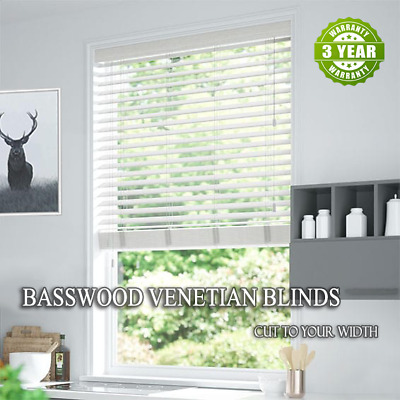 New 50mm Basswood Real Timber Venetian Blinds 60cm - 240cm