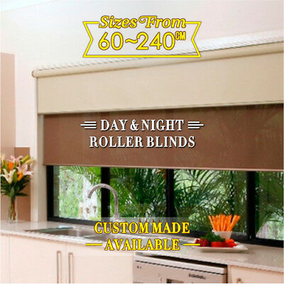 Dual Day/Night double Roller Blinds Fits 60-210cm (width)x 210cm (drop)-5 colors