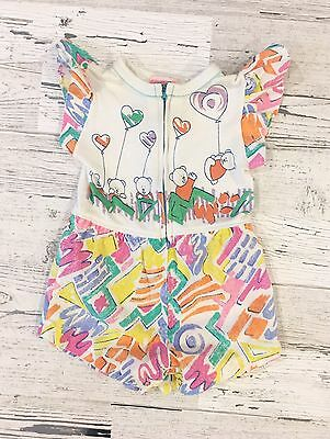Sweet 80's Vintage Bragabouts Teddy Bear Romper with Graffiti 12M
