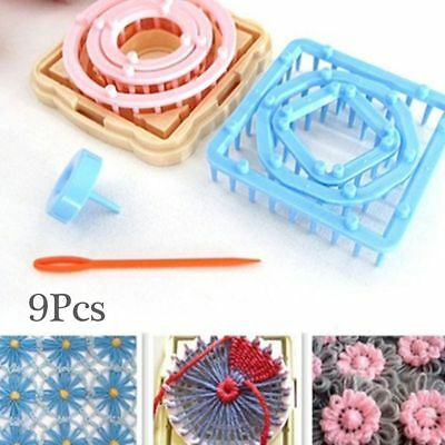 9x Flower Daisy Pattern Knitting Loom Maker Wool Yarn Needle Knit Tool DIY Craft
