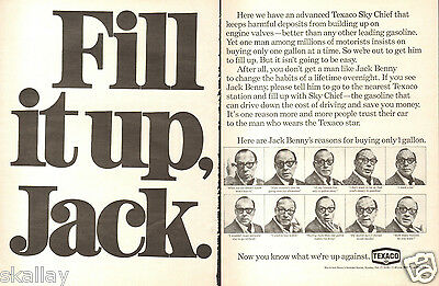 1969 LARGE 2 Page Print Ad of Texaco Fire Chief Gasoline with Jack Benny