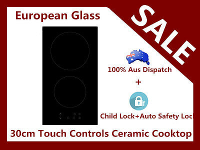 NEW EUROPEAN GLASS 30cm Domino 2Burner CERAMIC TOUCH CONTROL ELECTRIC COOKTOP