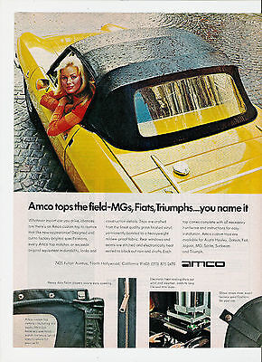1977 Amco Tops the Field MG Fiat Triumph Beautiful Sexy Girl Print Ad