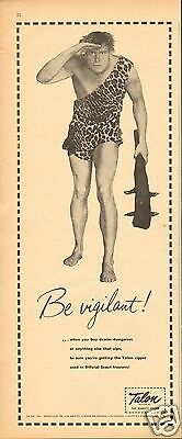 "1954 Talon Dungaree Zippers ""Cave Man"" Print Ad"