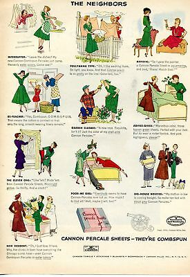 1951 Cannon Combspun Percale Sheets Cartoon Print Ad