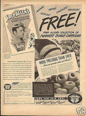 1946 Doughnut Corp of America Tested Quality LARGE Print Ad w Fred Allen
