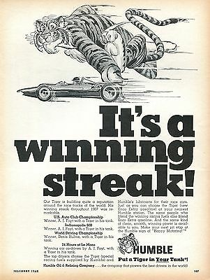 1968 Humble Oil Company It's A Winning Streak Put A Tiger In Your Tank Print Ad
