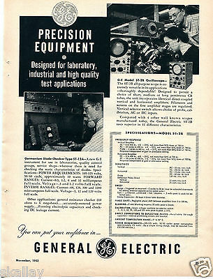 1952 Print Ad General Electric GE Model ST-2B Oscilloscope ST-12A Diode Checker