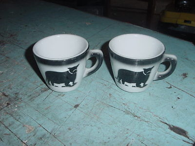 Vintage Jackson China Coffee Cup Cow Bull Steer Lot Of 2 Cups Falls Creek Pa