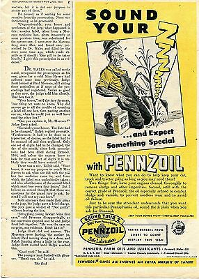 1945 Pennzoil Farm Oils & Lubricants Sound Your Z & Expect Something Special Ad
