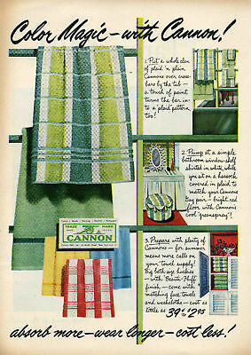 1951 Cannon Greenspray Plaid Bathroom Towel Print Ad