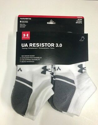 6 Pairs Under Armour Boy's Resistor No Show White Socks Youth Large ( YLG ), NWT
