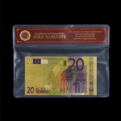 WR Collect World Paper Money €20 EURO Banknote 24K Gold Foil Business Gifts +COA