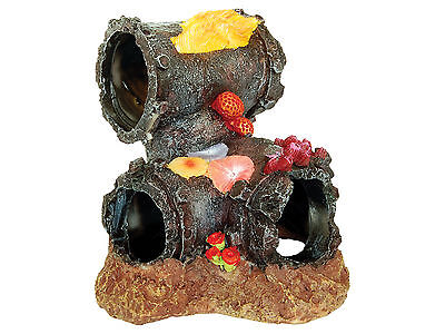 Sunken Pipe with Coral Fish Tank Cave Decoration Aquarium Ornament