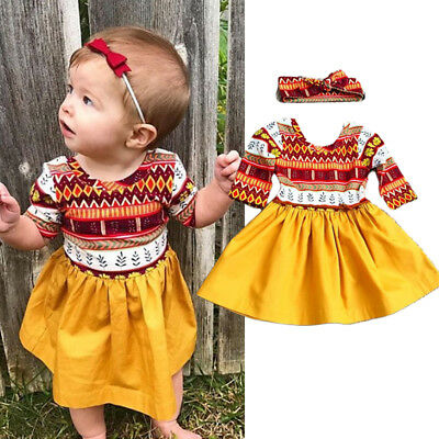 AU Stock Toddler Kids Baby Girl Floral Party Dress Sundress Clothes Headband Set