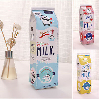 Cute Cartoon Milk Kawaii Pencil Case Plush Large PEN BAG Kids School Supplies