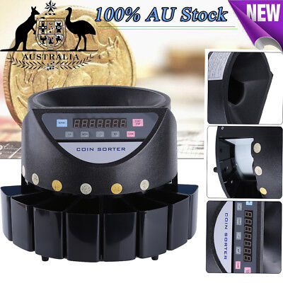 Australian Coin Counter Sorter Automatic Money Counting Machine Digital Black Au