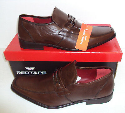 Mens Leather Brown Slip On Casual Formal RED TAPE Nevis Shoes New Sizes 9 & 10