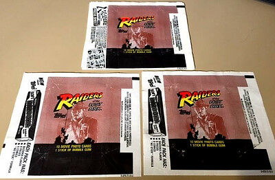 Raiders of the Lost Ark - 10x Wax Pack Card Wrapper LOT - 1981 - NO TEARS !!