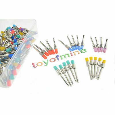 100Pc Disposable Type Dental Mix Color Nylon Polishing Polisher Prophy Brush Cup