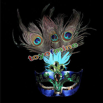 Party Mask Hallween Dress Costume Venetian Masquerade Mardi Gras Peacock Feather