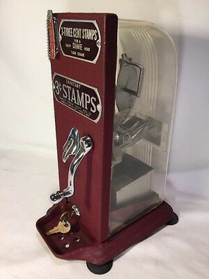 Vintage Authenic US Postal Service Clear Glass Hand Crank 3 cent Stamp Dispenser