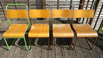 Original Vintage Metal And Bent Plywood Stacking School Chairs Retro Cafe Dining