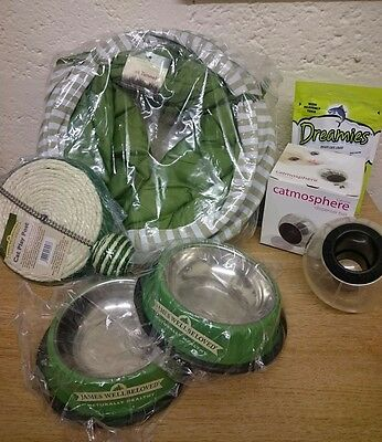 Cat Gift Bundle; 2 Bowls Toy Dreamies Treat Dispenser & Tunnel! Job Lot Bulk Buy