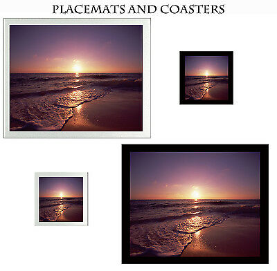 Set Glass Coasters & Placemats Black or Silver Tableware Evening Tide Sunset Sea