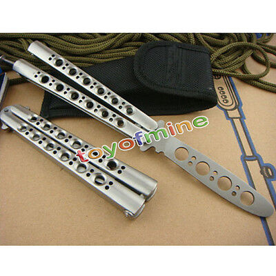 New Practice BALISONG METAL BUTTERFLY Sport Trainer Knife Tool + Sheath