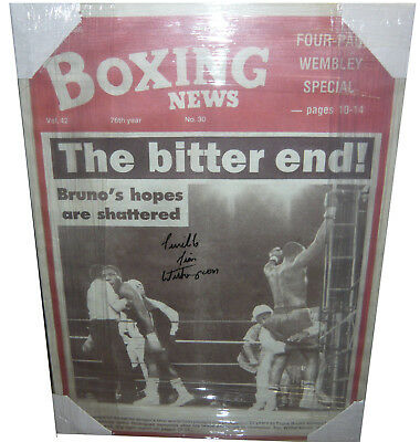 Tim Witherspoon SIGNED AUTOGRAPH Boxing News Canvas vs Frank Bruno AFTAL UACC
